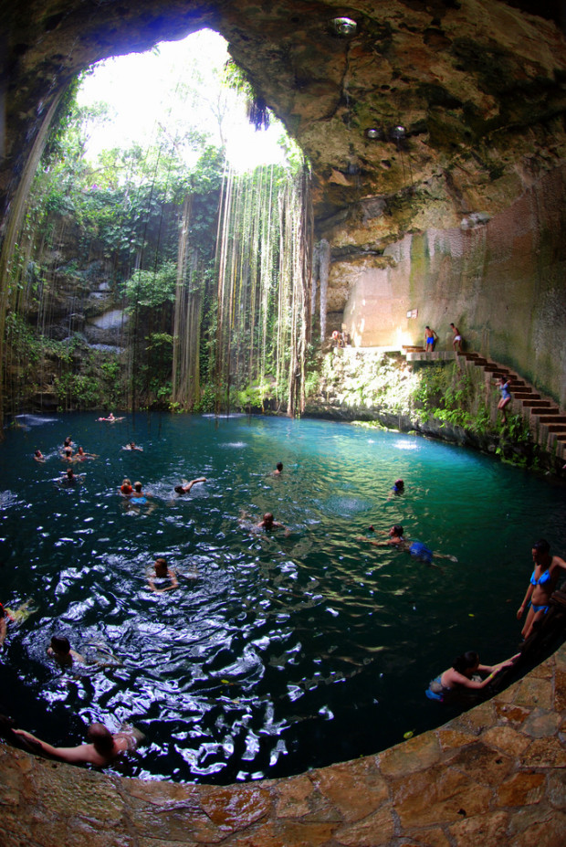 Ik Kil Cenote Some Refer To It As Ikil Is A Deep Natural Pit Usually Open The Sky Formed By Collapsing Of Cave Mexico Has Special